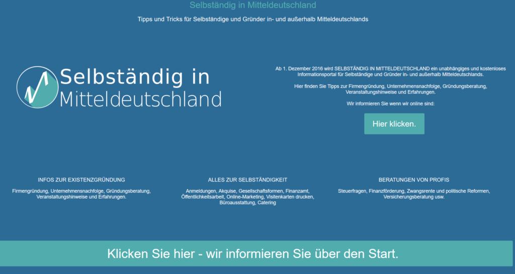 Die Landing Page für Selbständig in Mitteldeutschland vor dem Start des Portals.