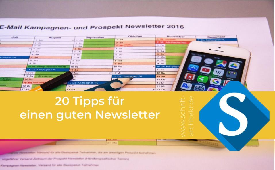 Agentur Schrift-Architekt.de für Beratung, Coaching und Weiterbildung - Blogcover zum Thema Newsletter